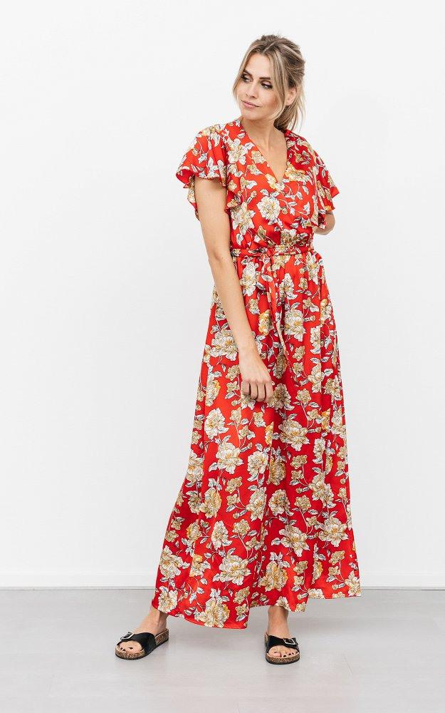 Kleid Otto Rot Hellbraun  Maxikleid Mit Floralem Muster
