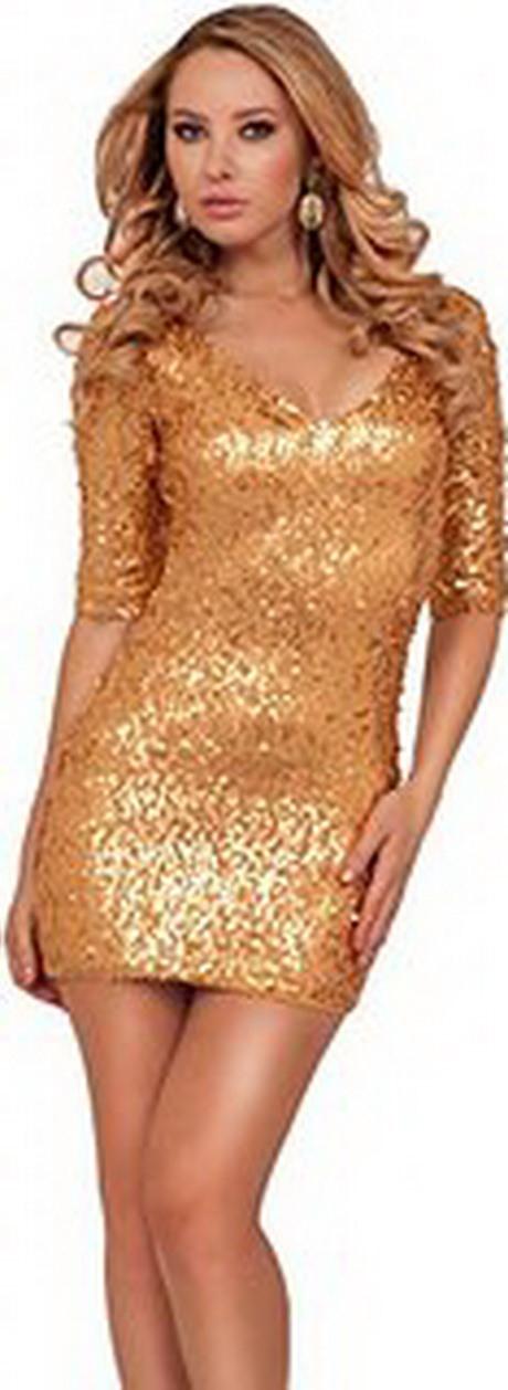 Kleid Pailletten Gold