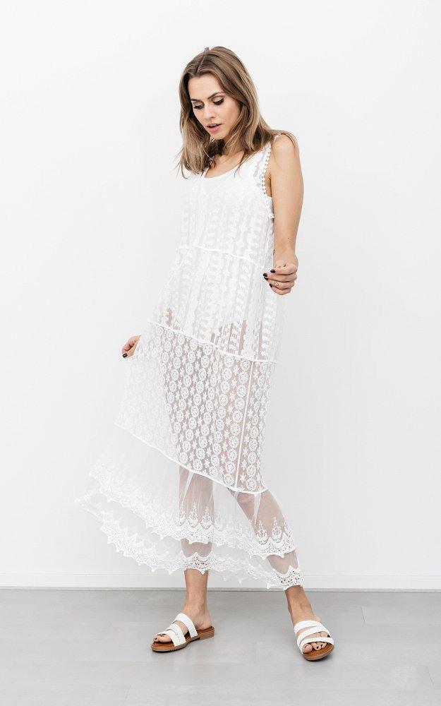 Kleid Pamela Weiß  Transparentes Kleid Mit Spitze