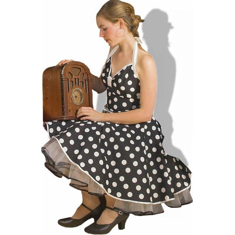 Kleid Rockabilly Schwarz Weiße Große Punkte  Tanzkleidd