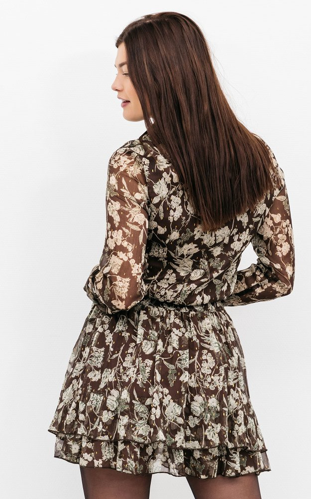 Kleid Saskia Dunkelbraun  Transparentes Kleid Mit Rüschen