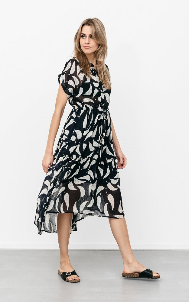 Kleid Soof Dunkelblau Creme  Luftiges Kleid Mit Subtilem
