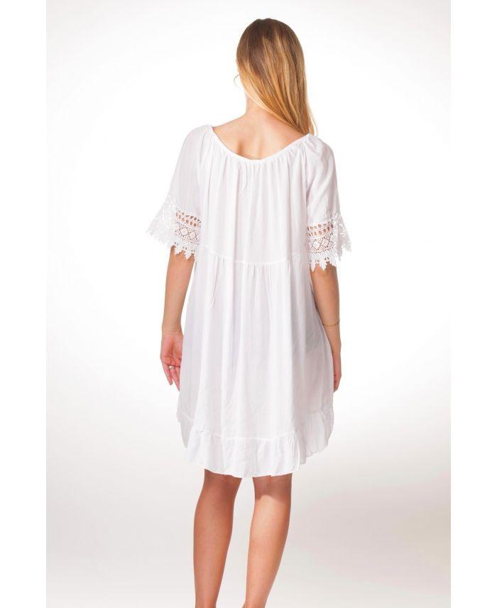 Kleid Tunika Spitze S9330 Weiß  Wwwgrossistepreta