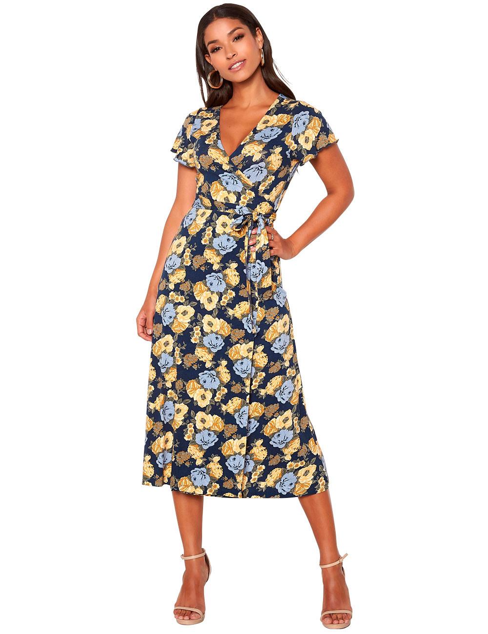 Kleid Von Happy Holly Geblümt Blau/Bedruckt