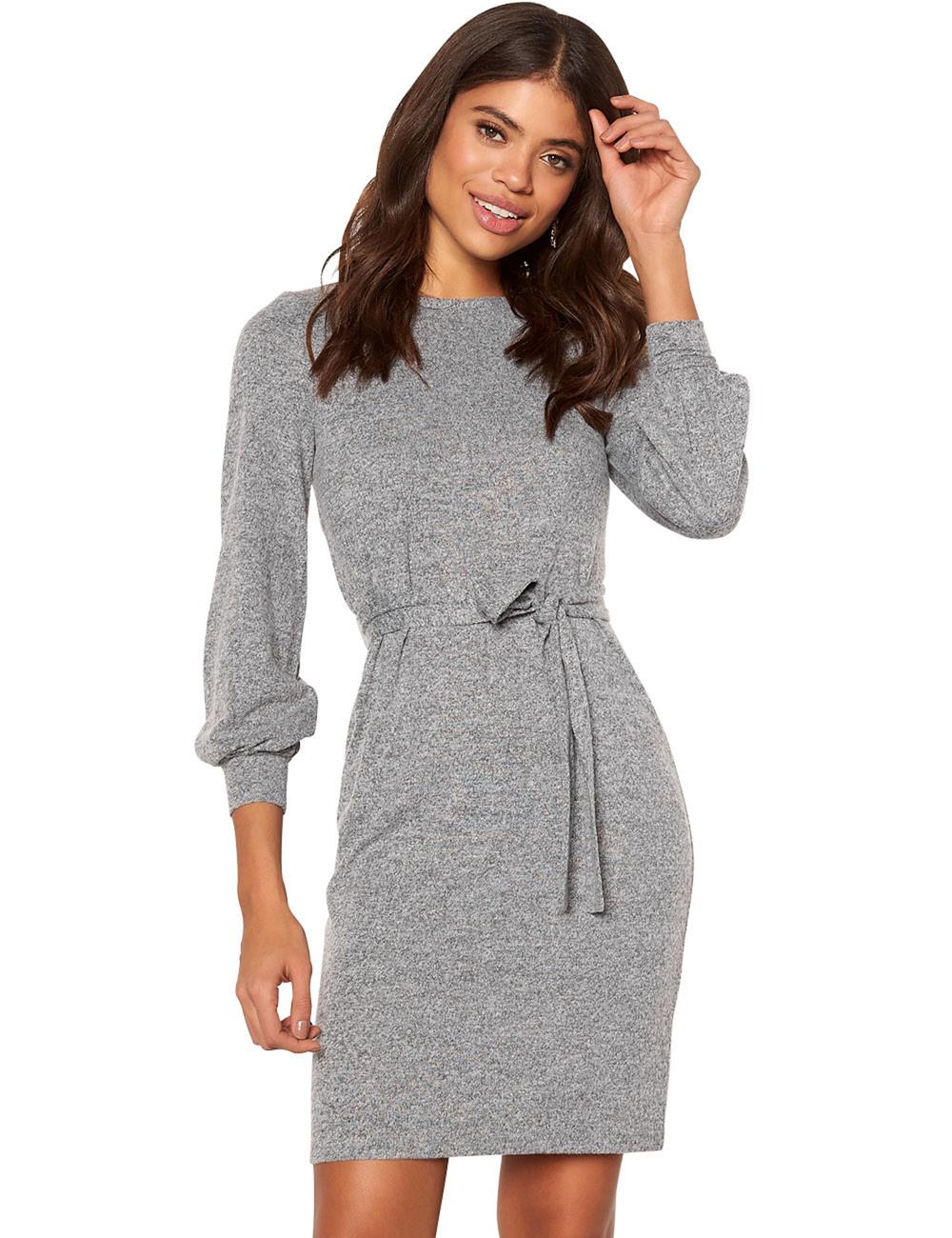 Kleid Von Happy Holly Mit Langen Ärmeln Grau Meliert