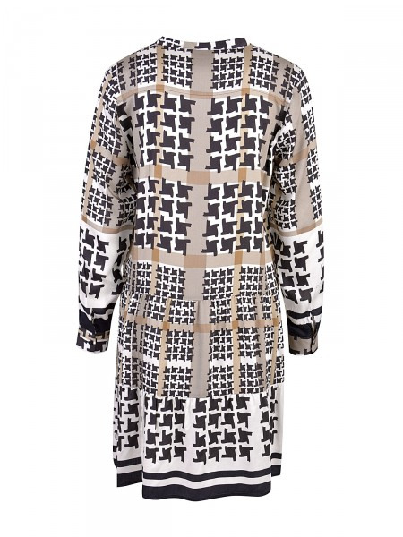 Kleid Von Milano Italy  Mit Hahnentrittmuster  Schwarz
