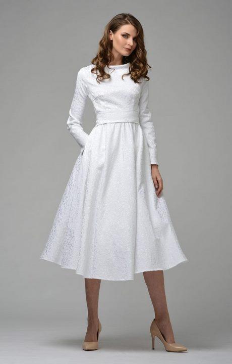 Kleid Weiß Wadenlang