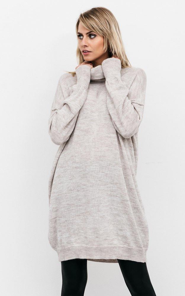 Kleid Yvon Beige  Strickpullover Mit Langem Rollkragen