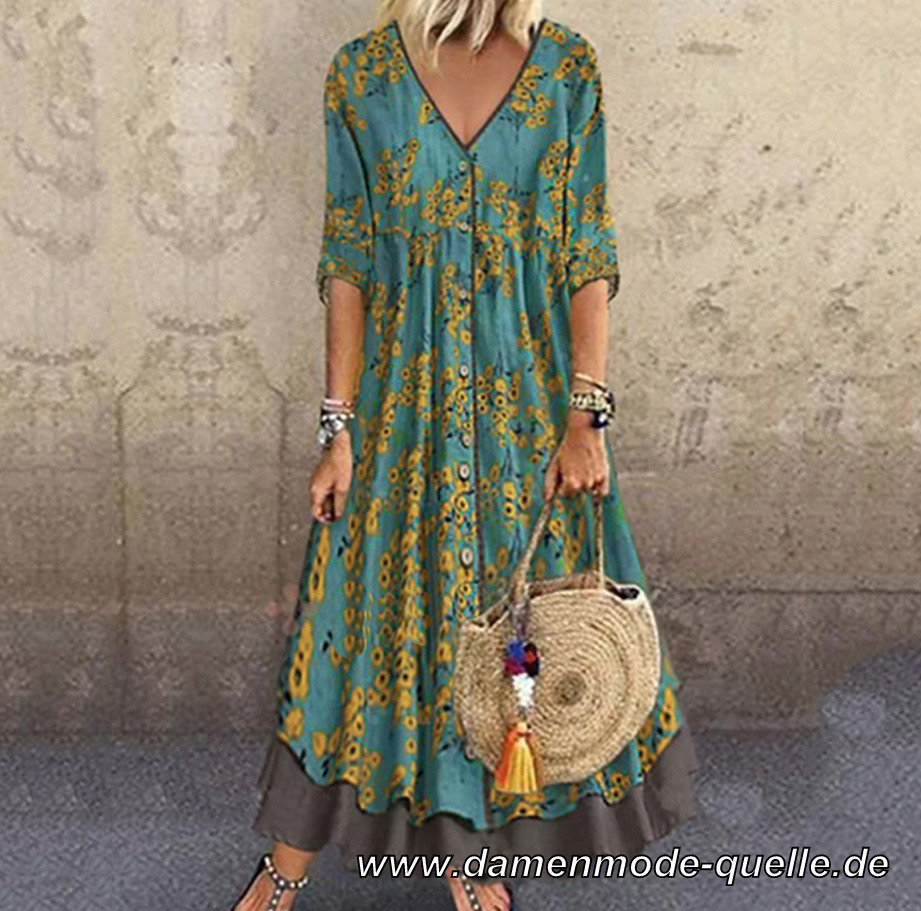 Kleider 2020  Floral Print Maxi Boho Curvy Kleid Lang