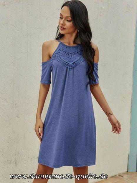 Kleider 2020  Kurzarmkleid Sommerkleid In Blau