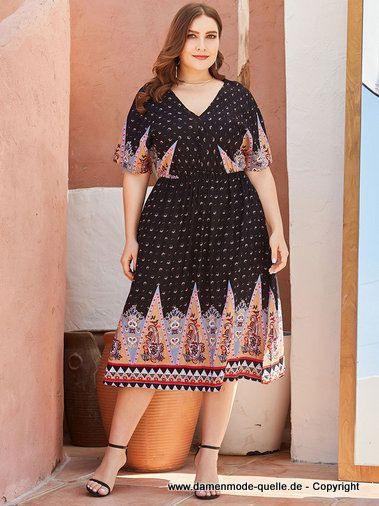 Kleider 2020  Maxi Kurzarm Curvy Sommerkleid 2020