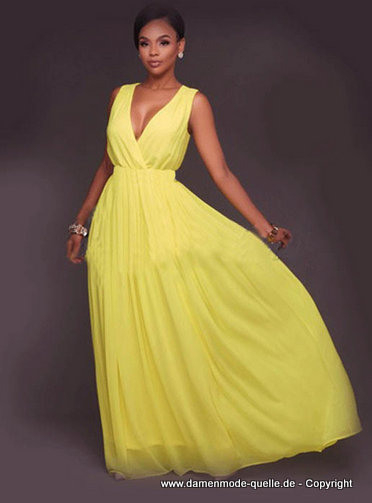 Kleider 2020  V Ausschnitt Empire Chiffon Sommer Kleid