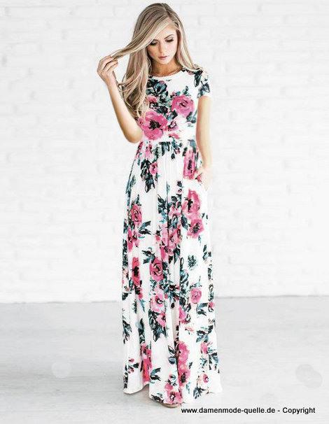 Kleider 2021  Elegantes Print Sommerkleid 2020 Mit Ärmel