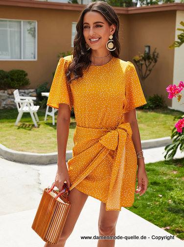Kleider 2021  Kurzes Mini Sommer Wickelkleid 2020 Gelb