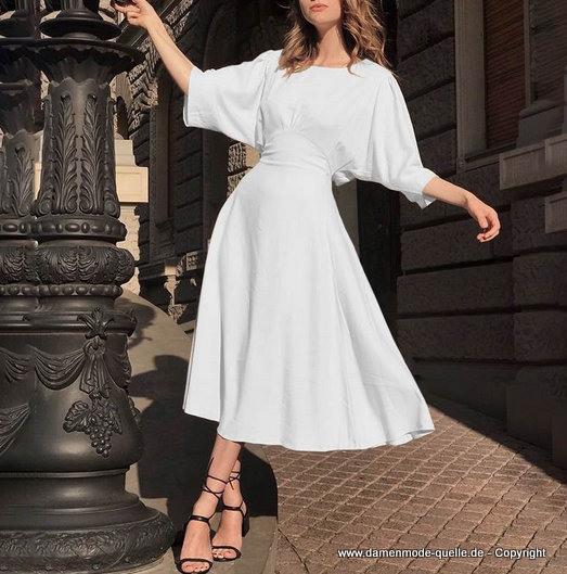 Kleider 2021  Vintage Sommerkleid 2020 Wadenlang In Weiss
