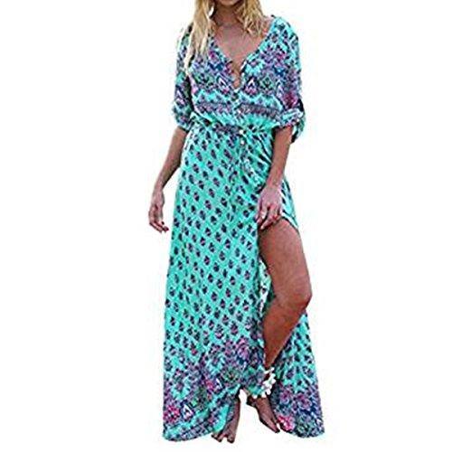 Kleider Damen Dasongff Damen Strandkleid Elegant Langarm V