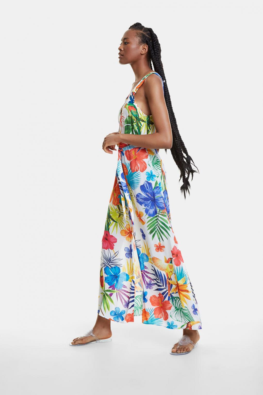 Kleider | Damen Desigual Langes, Geblümtes Strandkleid