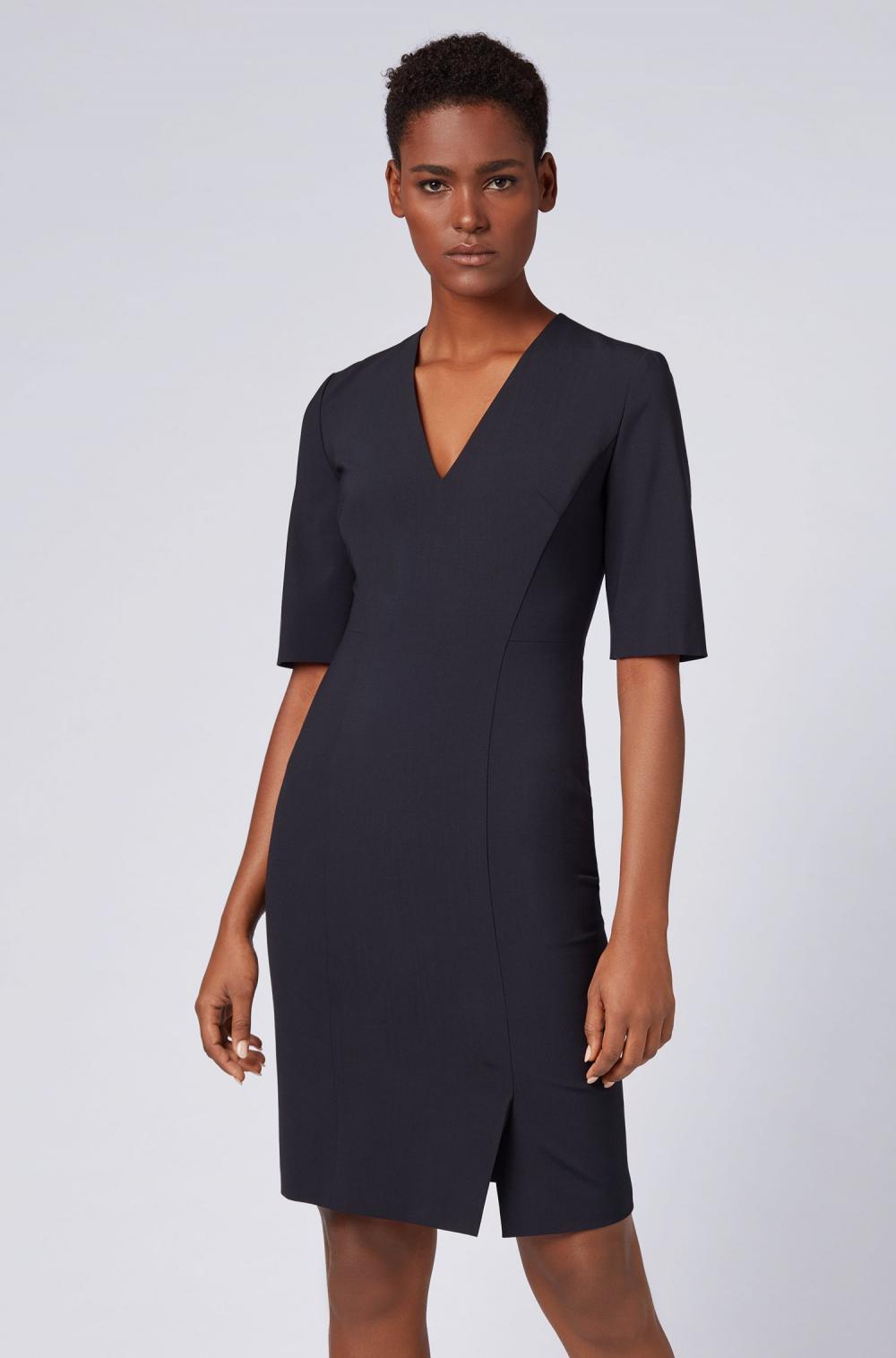 Kleider  Etuikleid Aus Stretchschurwolle Mit Tiefem V