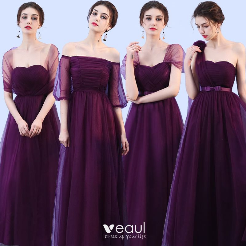 Kleider Für Hochzeit Brautjungfernkleider Traube Gekreuzte