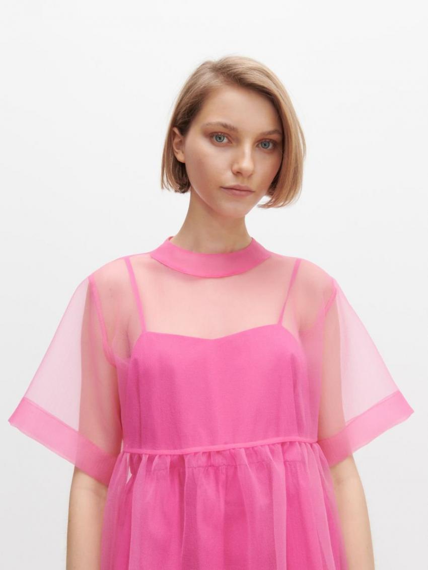 Kleider  Jumpsuits  Kleid Aus Organza Rosa  Reserved