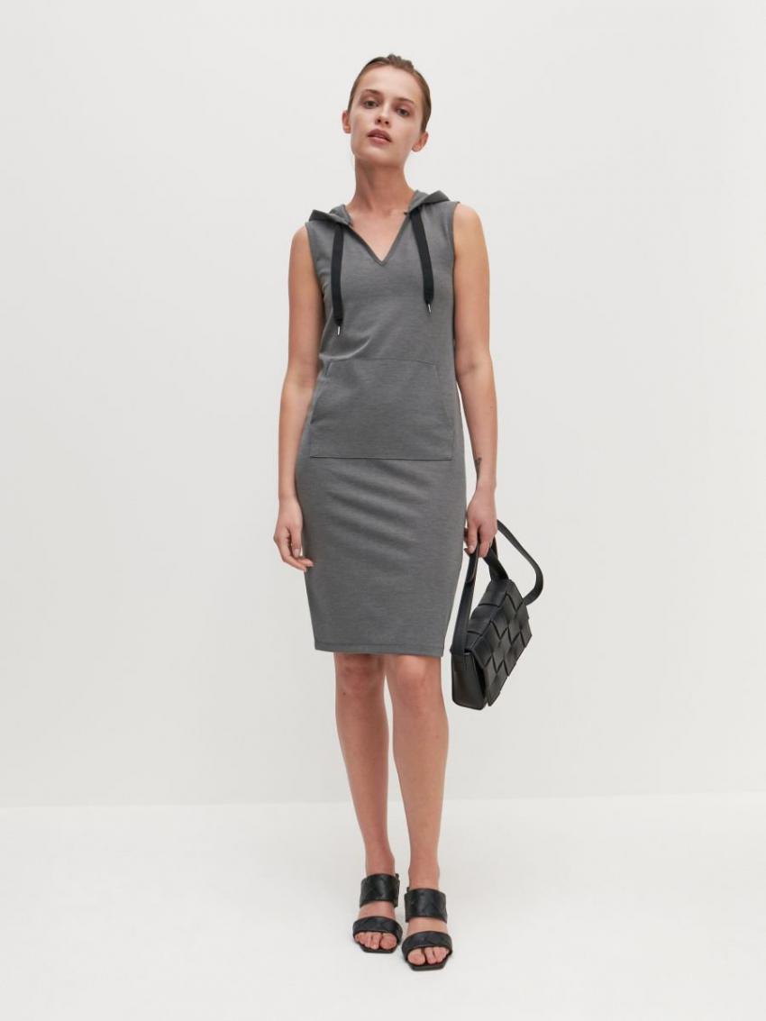 Kleider  Jumpsuits  Strickkleid Mit Kapuze Grau