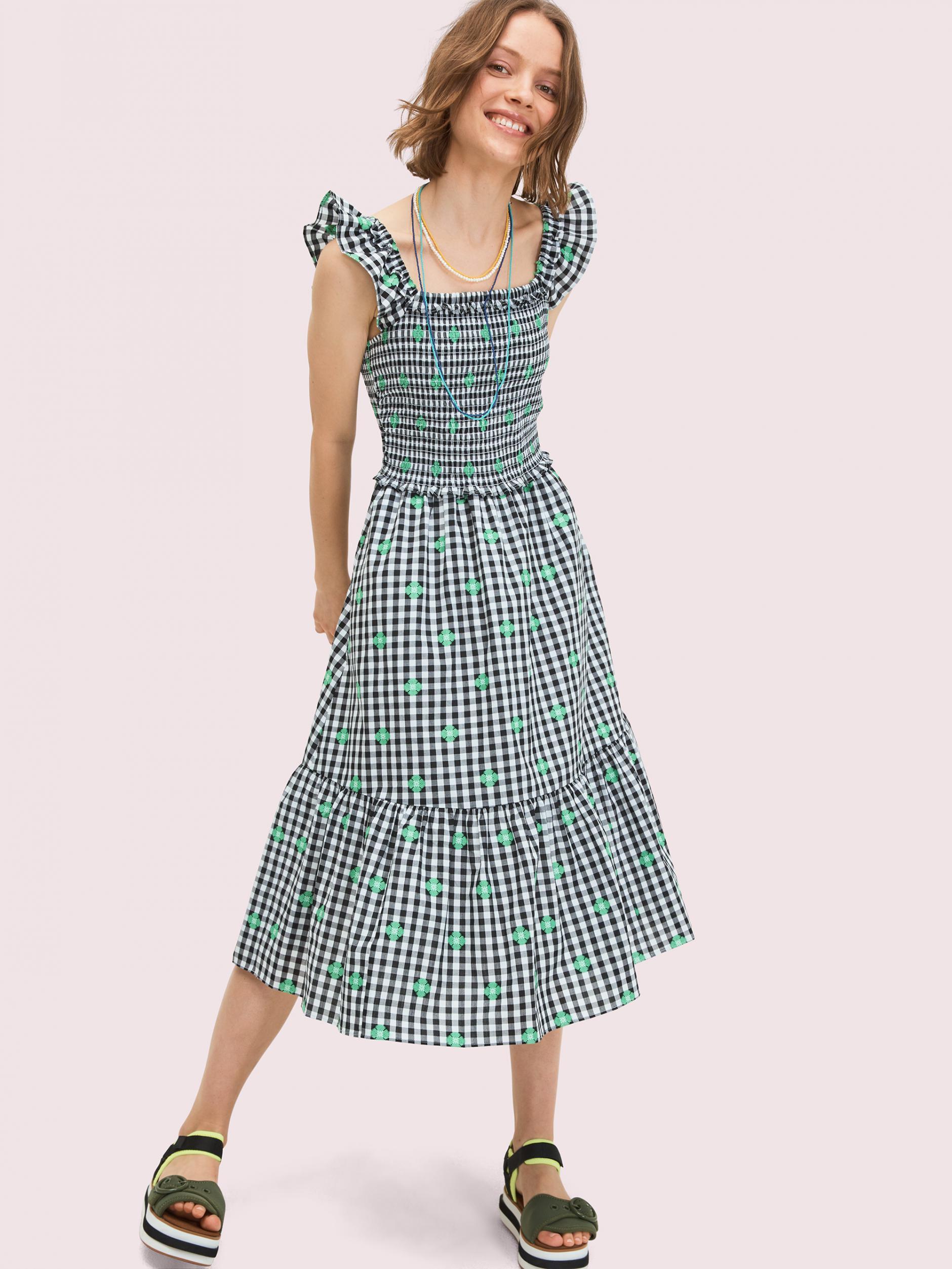 Kleider  Kate Spade Damen Gesmoktes Kleid Aus Voile Mit