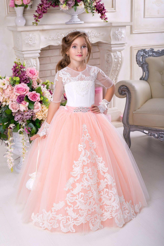Kleider  Kommunion Kleidpfirsichkleid Spitze Schleife