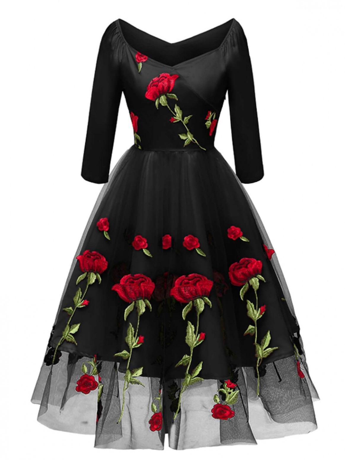 Kleider Mit Dreiviertel Ärmel  Abendkleider