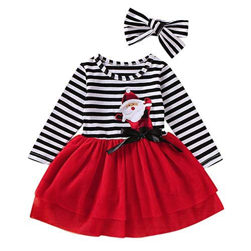 Kleinkind Baby Mädchen Weihnachten Santa Striped Print