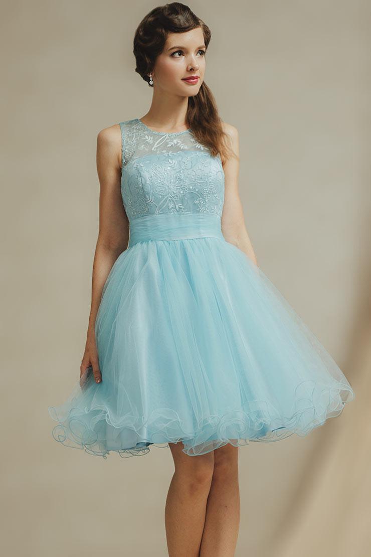 Knielang Ruching Alinie Blaues Brautjungfernkleider Aus