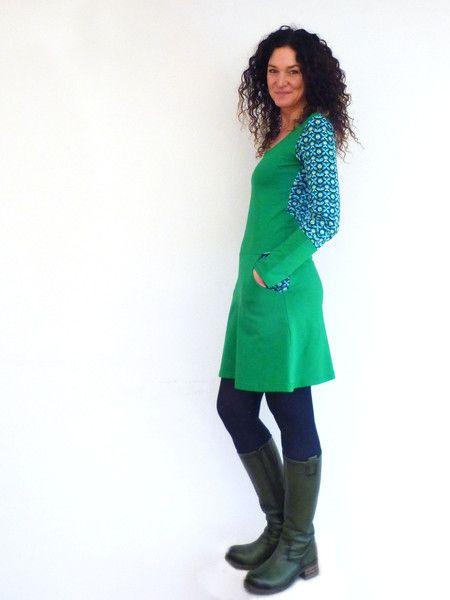 Knielange Kleider  Kleid Mit Taschen Grün Mit Blumen In