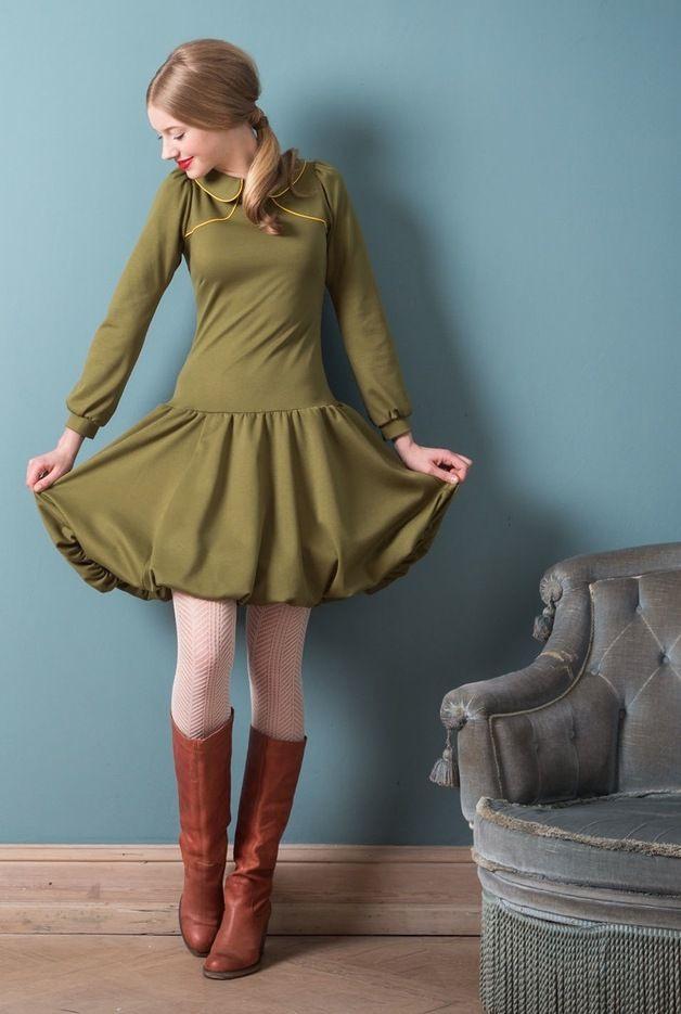 Knielange Kleider  Olivgrünes Ballonkleid Aus Jersey