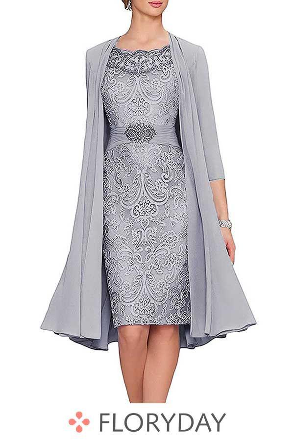 Knielanges Kleid Mit Flügelärmel  Damenmode Kleider