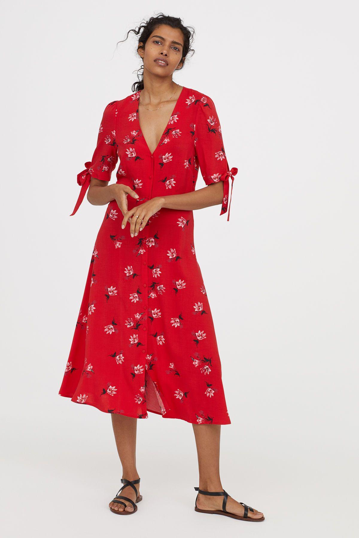Knielanges Kleid  Rot/Geblümt  Damen  Hm De  Rotes