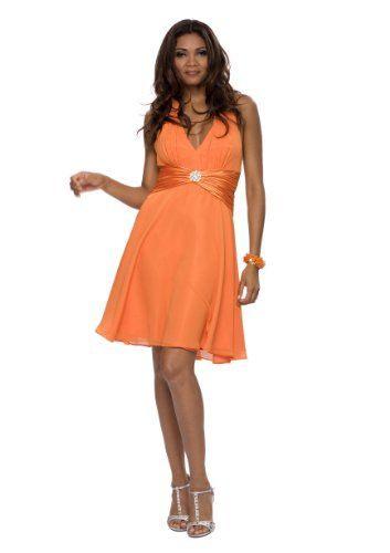 Knielanges Neckholder Cocktail Kleid Farbe Orange Gr36