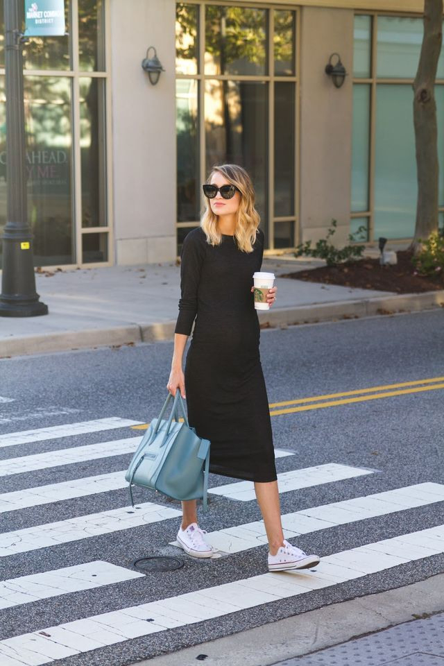 Knit Midi Dress And Sneakers Little Blonde Book