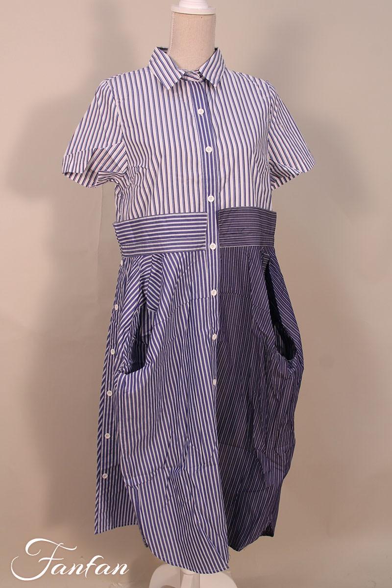 Kokomarina Gestreiftes Kleid Ichi Weiss Und Blau