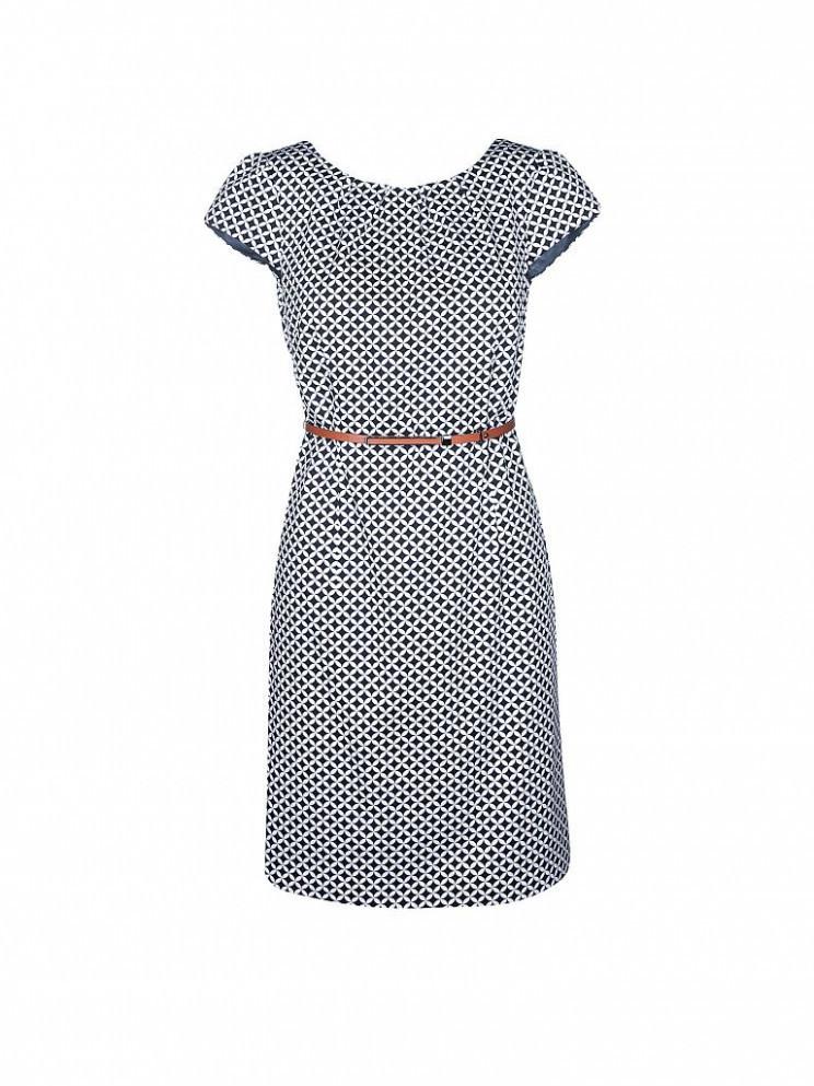 Komma Kleid Punkte Blau  Abendkleider