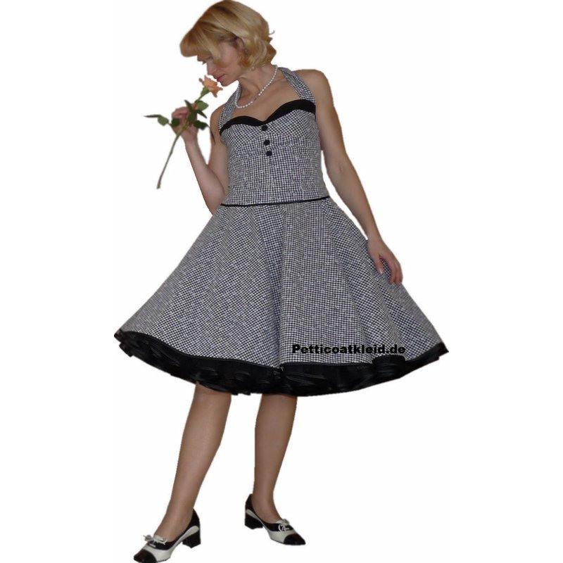 Korsagenkleid Zum Petticoat Vichy Karo Schwarz Weiß  Tanzklei