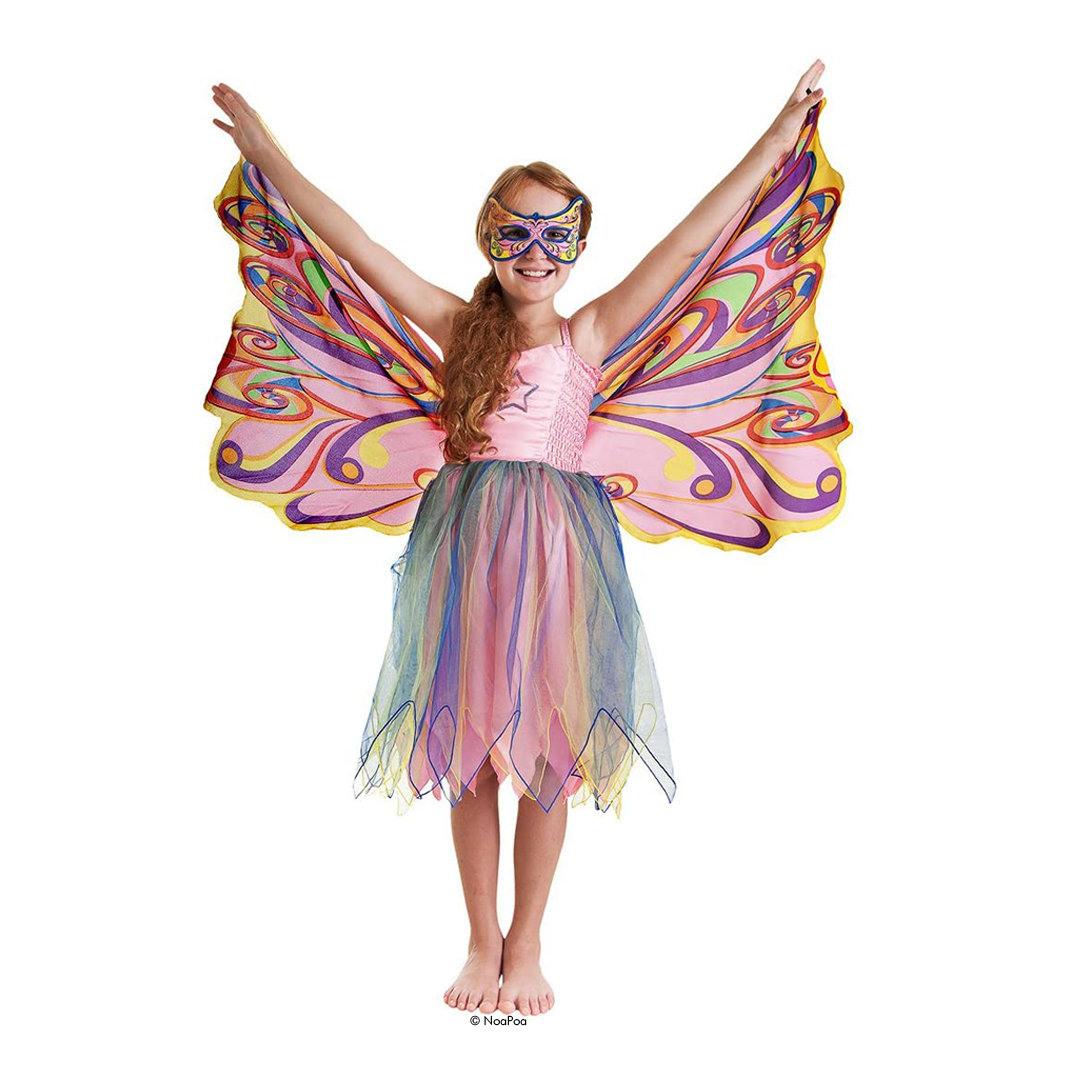 Kostüm Regenbogen Feenkleid Mit Flügeln Und Glitzer  Zambomba