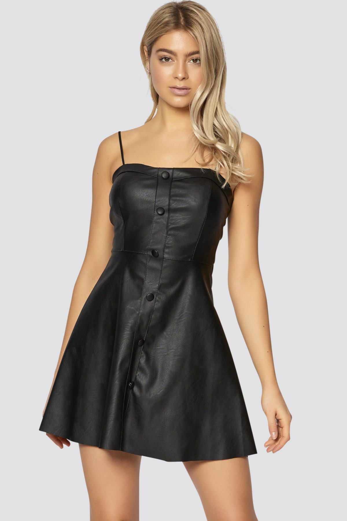 Kunstlederkleid Mit Bindegurt In Schwarz  Damen Kleider