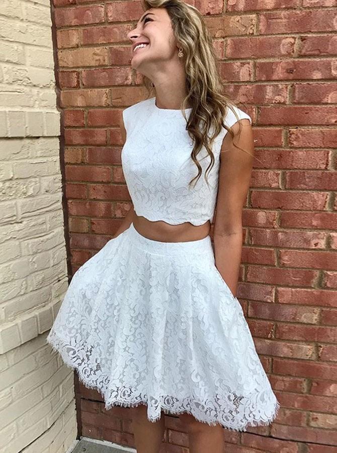Kurz Zweiteiler Juwel Weiß Spitze Abiball Party Kleid Mit