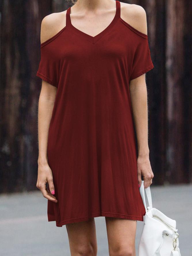 Kurzarm Einfarbige Freizeitkleider  Kleider