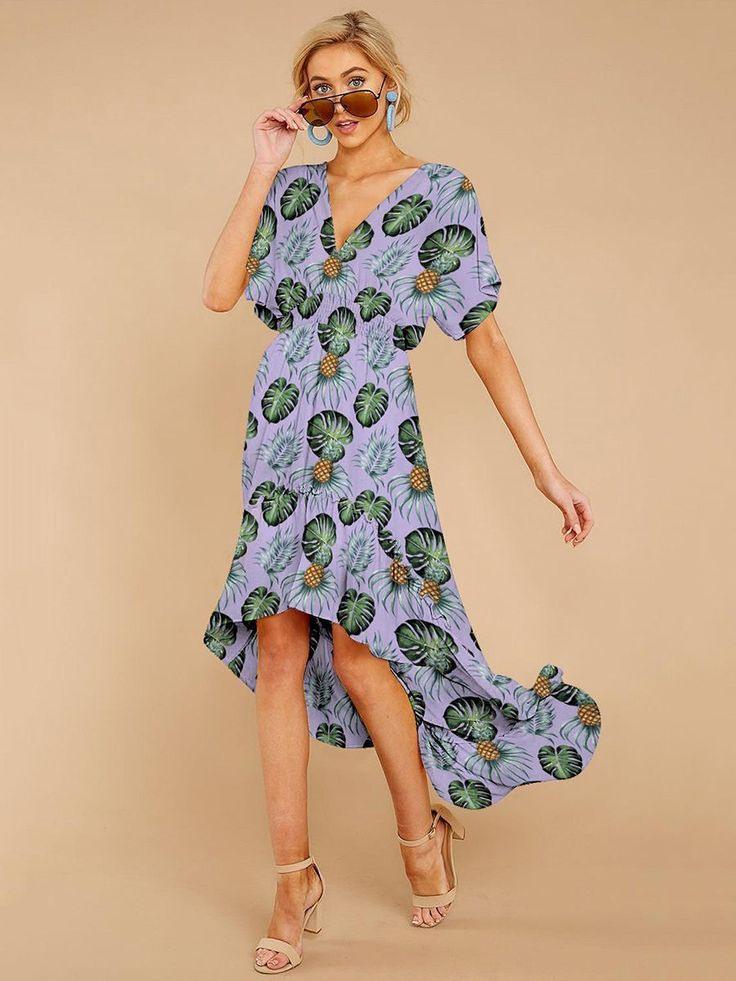 Kurzarm Streifen Sommer Maxi Kleid Hellblau  Kleider