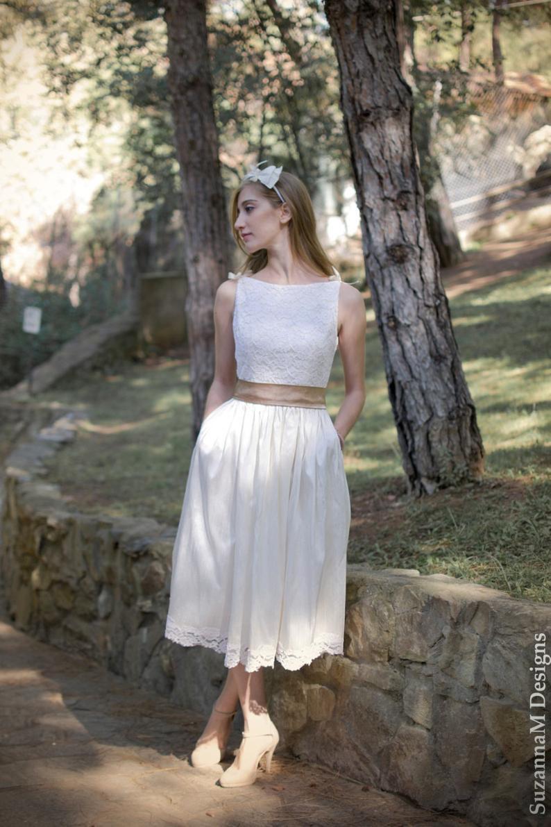 Kurze Seide 50Er Jahre Klassische Hochzeit Drees Für Braut