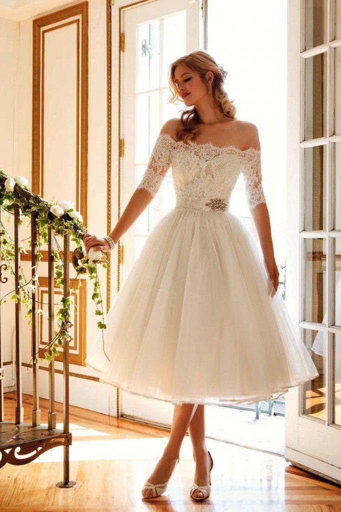 Kurze Vintage Brautkleid  Brautkleid Hochzeitskleid