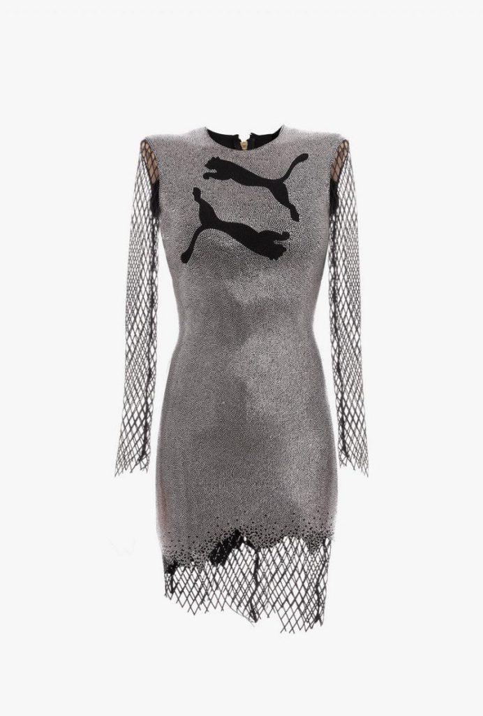 Kurzes Asymmetrisches Puma Kleid Mit Silberfarbenen Und