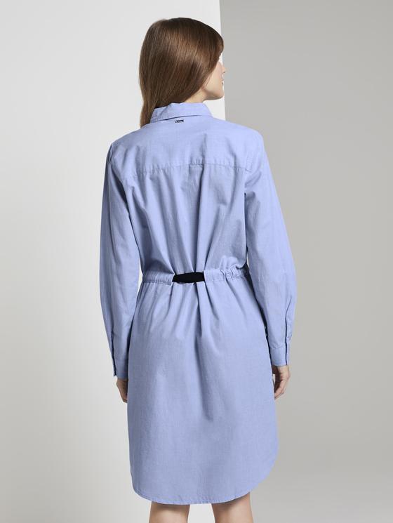 Kurzes Hemdkleid Mit Bindegürtel Blau  Von Tom Tailor Denim