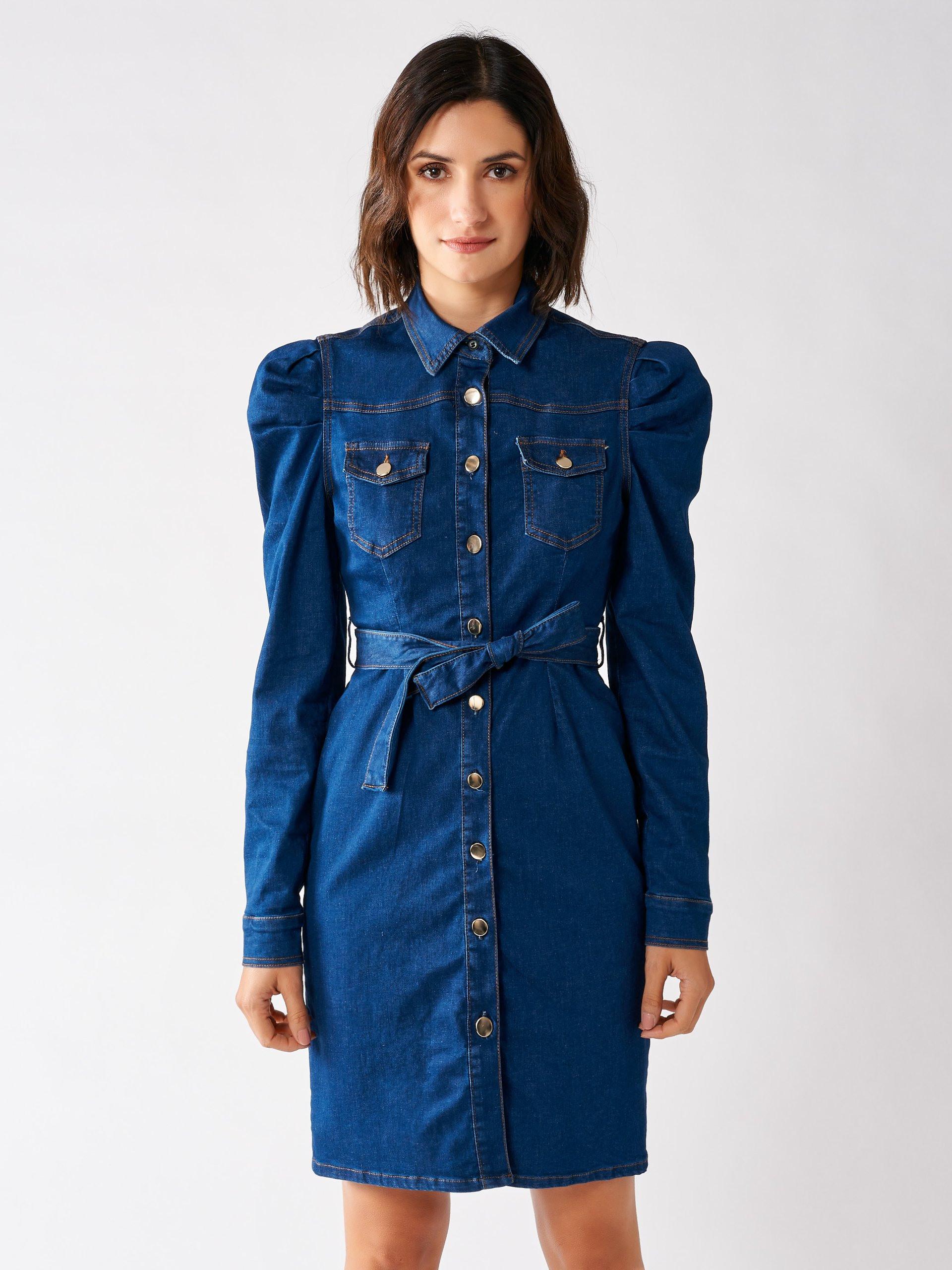 Kurzes Jeanskleid Blau  Rinascimento Kleider Fs 2020