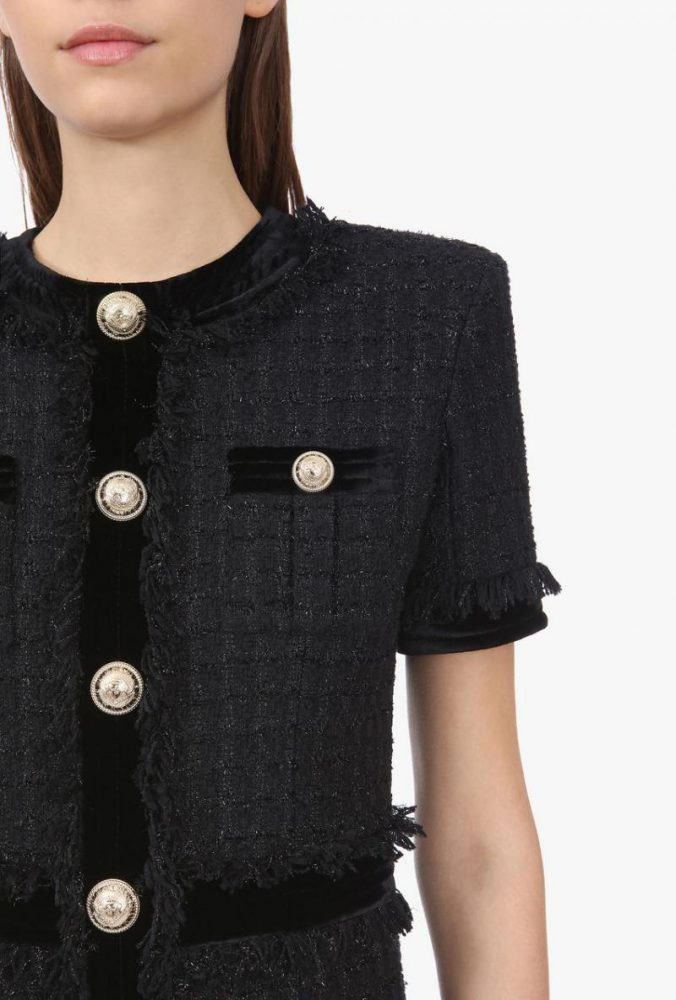 Kurzes Kleid Aus Tweed In Irisierendem Schwarz Schwarz